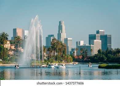 The Los Angeles skyline and lake at Echo Park, in Los Angeles, California