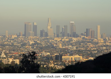 Los Angeles Skyline At Late Afternoon