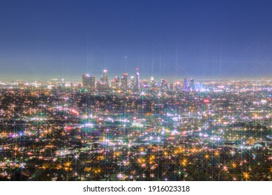 Los Angeles Skyline At Night with Eight Point Stars