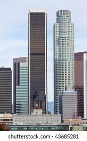 Los Angeles skyline on a sunny day.