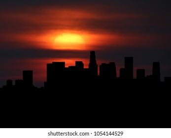 Los Angeles skyline silhouette with sunset illustration