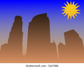 Los Angeles skyline with smog illustration
