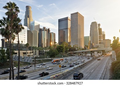 The Los Angeles skyline at sunset