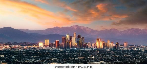 Los Angeles skyline sunset California
