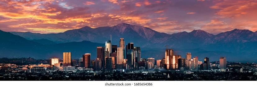 Los Angeles skyline sunset panorama