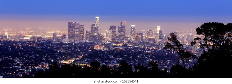 Los Angeles skyline- view from the hills of LA