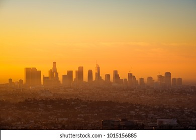 Los Angeles skyline viewed from Griffith observatory at sunrise, California, USA