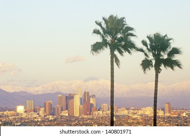 Los Angeles and snowy Mount Baldy as seen from the Baldwin Hills, Los Angeles, California