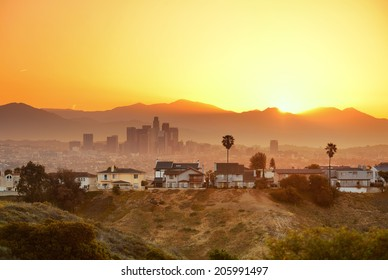 Los Angeles sunrise with mountain and buildings