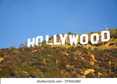 LOS ANGELES, THE UNITED STATES - APRIL 8, 2014 : The Hollywood Sign is a landmark and American cultural icon located in Los Angeles, California. It is situated on Mount Lee, in the Hollywood Hills.