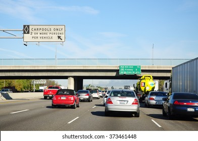 LOS ANGELES, THE UNITED STATES - APRIL 8, 2014 : Carpool only on Freeway in Los Angeles. Two or more persons per vehicle can use this lane.