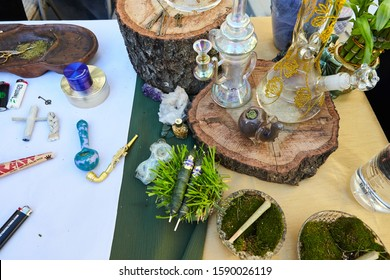 LOS ANGELES, UNITED STATES - Feb 09, 2019: Smoking Accessories at Cannabis Party in Hollywood provided by Bud Divas. Party hosted by Weedweek.net