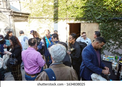 LOS ANGELES, UNITED STATES - Feb 09, 2019: Attendees in the adult-use smoking garden at WeedWeek Recharge LA Conference, a cannabis industry conference in Los Angeles.