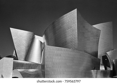 LOS ANGELES, UNITED STATES - NOVEMBER 03, 2014: Disney Philharmonic Hall, designed by Frank Gehry, glistens in the reflected sunlight in Los Angeles.