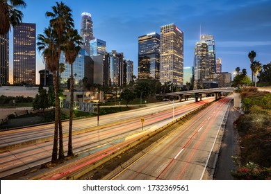 Los Angeles, United States - October 21, 2018: Downtown Los Angeles skyline with fast traffic and skyscraper taken at dawn, Los Angeles, California, United States