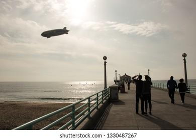 Los Angeles / USA - 02 25 2019: Goodyear airship on Manhattan Beach