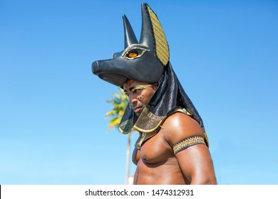Los Angeles, USA, 02/25/2016, Anubis character in Universal Studios theme Park.  In the picture: a man in the image of the Egyptian Anubis God.
