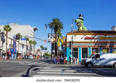 """Los Angeles, USA, 02/25/2016, Hollywood Boulevard. Hollywood Boulevard is a street in the city of Los Angeles, California, USA, which created the Hollywood """"walk of fame""""."""