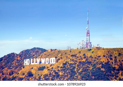 Los Angeles, USA, 02/26/2016, Hollywood Sign on Hollywood hills. Hollywood sign Is a famous landmark on the Hollywood hills in Los Angeles.