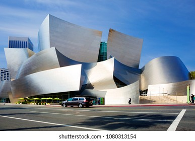 Los Angeles, USA, 02/28/2016, Concert hall. Walt Disney. Amazing architecture of the building. The exterior of the building is formed by a series of wavy curved stainless steel surfaces.
