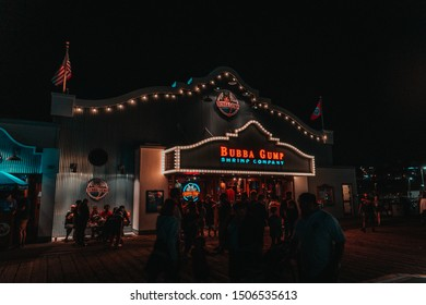 Los Angeles, USA - 07-26-2019: The Bubba Gumps restaurant located on the Santa Monica Pier at night.