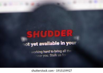 Los Angeles, USA - 1 February 2021: Shudder website page. Shudder.com logo on display screen, Illustrative Editorial
