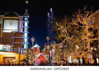 Los Angeles / USA - 12.02.2018 :  The Grove shopping mall in Los Angeles with Christmas decoration at night