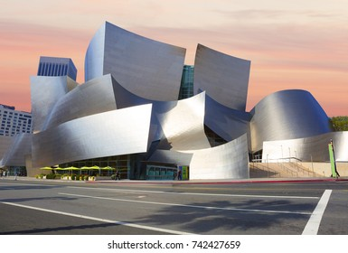 Los Angeles, USA, 2016:02:28 the Concert hall. Walt Disney. The amazing architecture of the building. The exterior of the building is formed by a series of undulating curved surfaces of  steel.