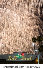 Los Angeles, USA - 4 July: July 4th fireworks and celebrations over the Rose Bowl in Pasadena in 2014.