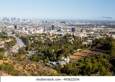 Los Angeles, USA - 6 July: View over LA skyline and the Hollywood Bowl