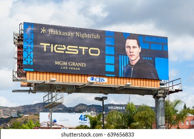 LOS ANGELES, USA - APRIL 1: Giant billboard in Los Angeles, United States on April 1, 2013 promoting DJ Tiësto playing in Hakkasan Nightclub in the MGM Grand Casino in Las Vegas, Nevada.
