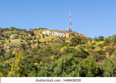 LOS ANGELES, USA - April 11, 2019: The Hollywood Sign - an American landmark and cultural icon overlooking Hollywood, Los Angeles, California