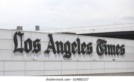 Los Angeles, USA - April 17, 2017: The facade for the Los Angeles Times newspaper building in downtown Los Angeles, California.