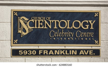 Los Angeles, USA - April 17, 2017: The sign in front of the Church of Scientology Celebrity Centre in Los Angeles, California.
