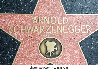 Los Angeles, USA - April, 2018: Arnold Schwarzenegger star at Hollywood street boulevard in Los Angeles, California, USA. Arnold Schwarzenegger is world famous actor thank his Terminator role.