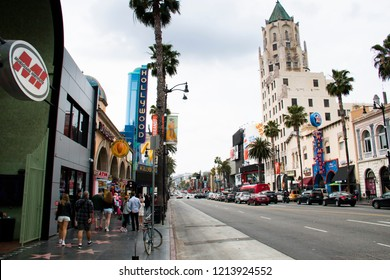 LOS ANGELES, USA – APRIL 2018: Street view on Hollywood Boulevard in downtown Los Angeles, USA