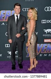 "LOS ANGELES, USA. April 22, 2019: Scarlett Johansson & Colin Jost at the world premiere of Marvel Studios' ""Avengers: Endgame"".Picture: Paul Smith/Featureflash"