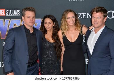 "LOS ANGELES, USA. April 22, 2019: Matt Damon, Luciana Barroso, Luke Hemsworth & Samantha Hemsworth at the world premiere of Marvel Studios' ""Avengers: Endgame"".Picture: Paul Smith/Featureflash"