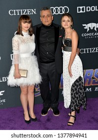 """LOS ANGELES, USA. April 22, 2019: Joe Russo, Ava Russo & Leah Russo at the world premiere of Marvel Studios' """"Avengers: Endgame"""".Picture: Paul Smith/Featureflash"""