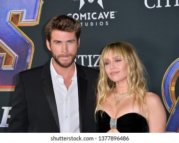 """LOS ANGELES, USA. April 22, 2019: Miley Cyrus & Liam Hemsworth at the world premiere of Marvel Studios' """"Avengers: Endgame"""".Picture: Paul Smith/Featureflash"""