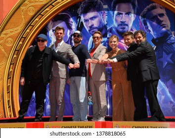 "LOS ANGELES, USA. April 23, 2019: Ken Feige, Chris Hemsworth, Chris Evans, Robert Downey Jr., Scarlett Johansson, Jeremy Renner & Mark Ruffalo at ""Avengers Endgame"" cast handprint ceremony."
