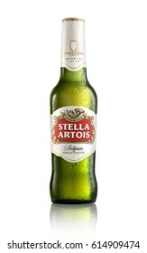 LOS ANGELES , USA - APRIL 3, 2017 - Bottle of Belgian Stella Artois Lager beer isolated on a white background