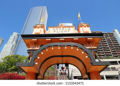 LOS ANGELES, USA - APRIL 5, 2014: Angels Flight narrow gauge funicular in Los Angeles. The short funicular was built in 1901.