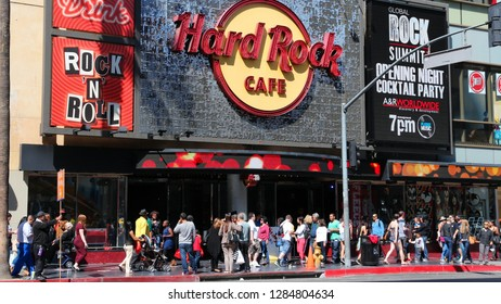 LOS ANGELES, USA - APRIL 5, 2014: People visit Hard Rock Cafe in Hollywood. As of 2015 there are 191 Hard Rock locations around the world.