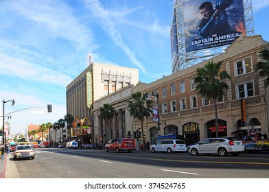 LOS ANGELES U.S.A. - APRIL 8, 2014 : Hollywood Boulevard is a street in Hollywood, Los Angeles, California. Parts of the boulevard are popular tourist destinations.