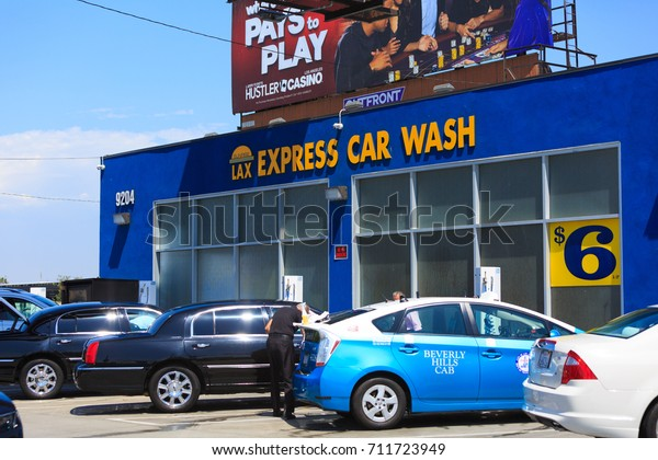 LOS ANGELES, USA - AUG 29, 2017: LAX International Airport  Area Car wash