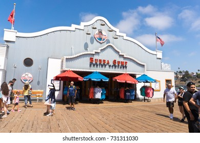 LOS ANGELES, USA - AUGUST 18, 2017: Bubba Gump Shrimp Company on Santa Monica pier. The restaurant is famous for being featured in the Oscar winning movie Forrest Gump. Editorial.