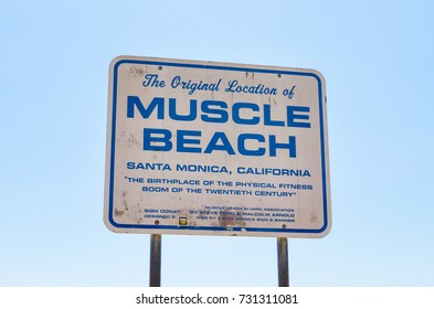 LOS ANGELES, USA - AUGUST 18, 2017: The original location of Muscle Beach sign in Santa Monica. It is said to be the birthplace of the physical fitness boom of the twentieth century. Editorial.