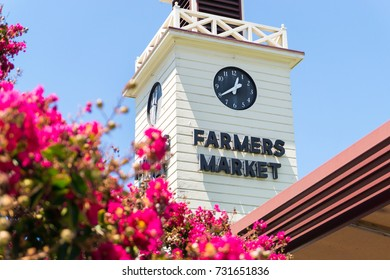 LOS ANGELES, USA - AUGUST 19, 2017: The Farmers Market tower in Los Angeles. The market area offers over a hundred vendors and is open seven days a week. Editorial.