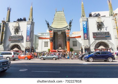 LOS ANGELES, USA - AUGUST 19, 2017: TLC Chinese Theater's entrance full of tourists in Hollywood. Editorial.